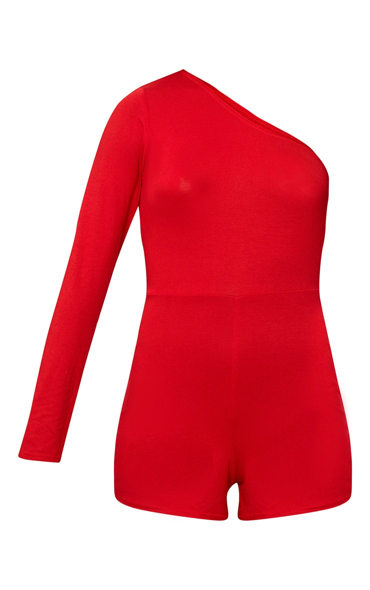 Red One Shoulder Playsuit 3