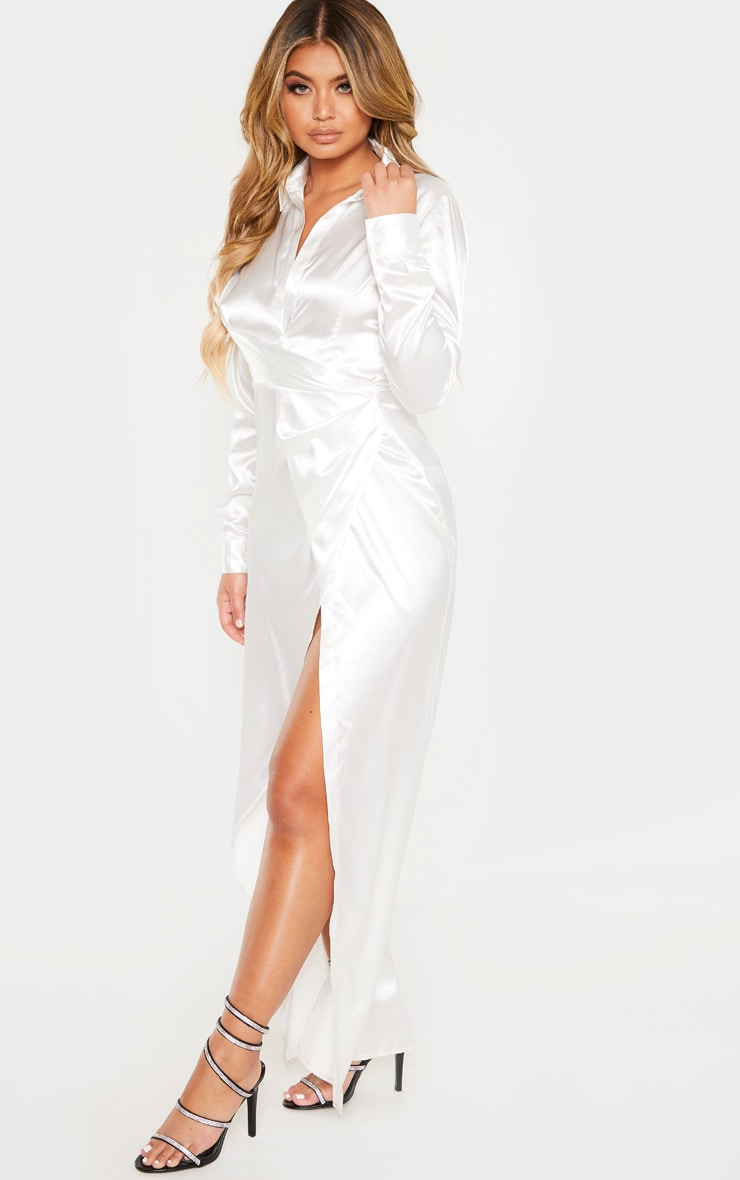 White Satin Drape Extreme Split Maxi Shirt Dress 4