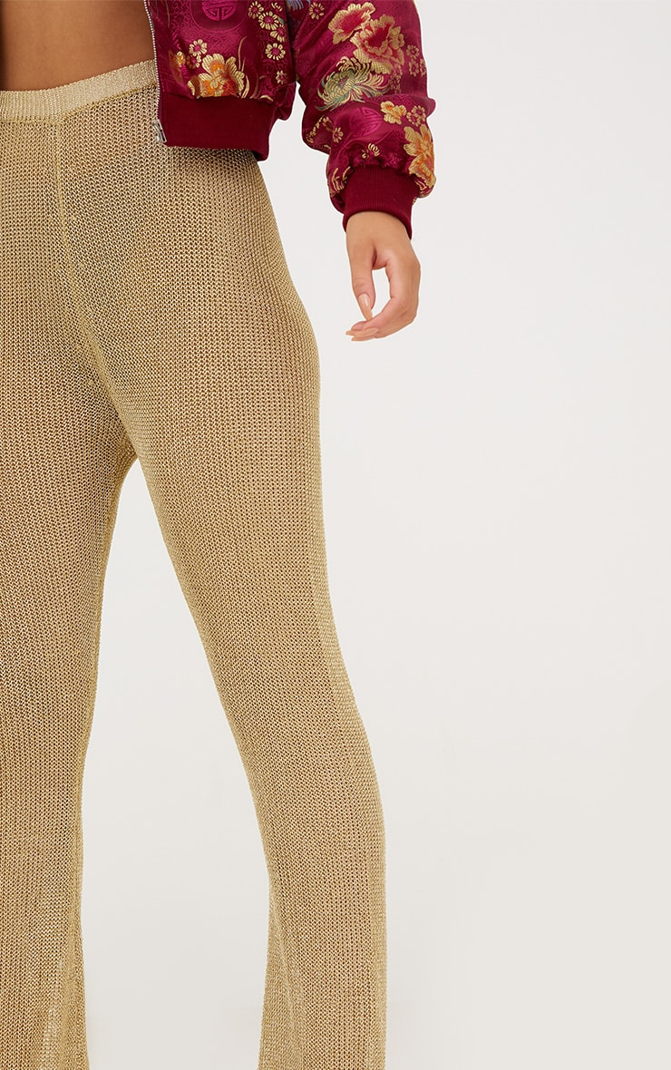Gold Metallic Knit Flared Trousers 6