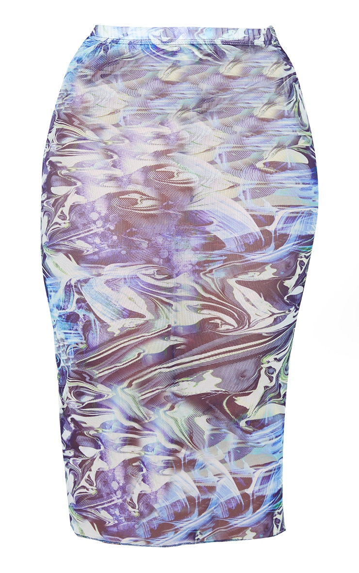 Plus Blue Marble Print Mesh Bodycon Midi Skirt 5