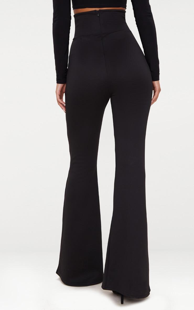 Black Scuba Curve Waist Band Detail Flared Trousers  4