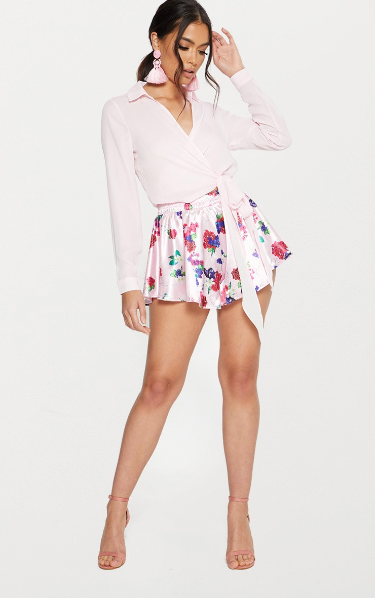 Pink Satin Floral Print Floaty Shorts 5