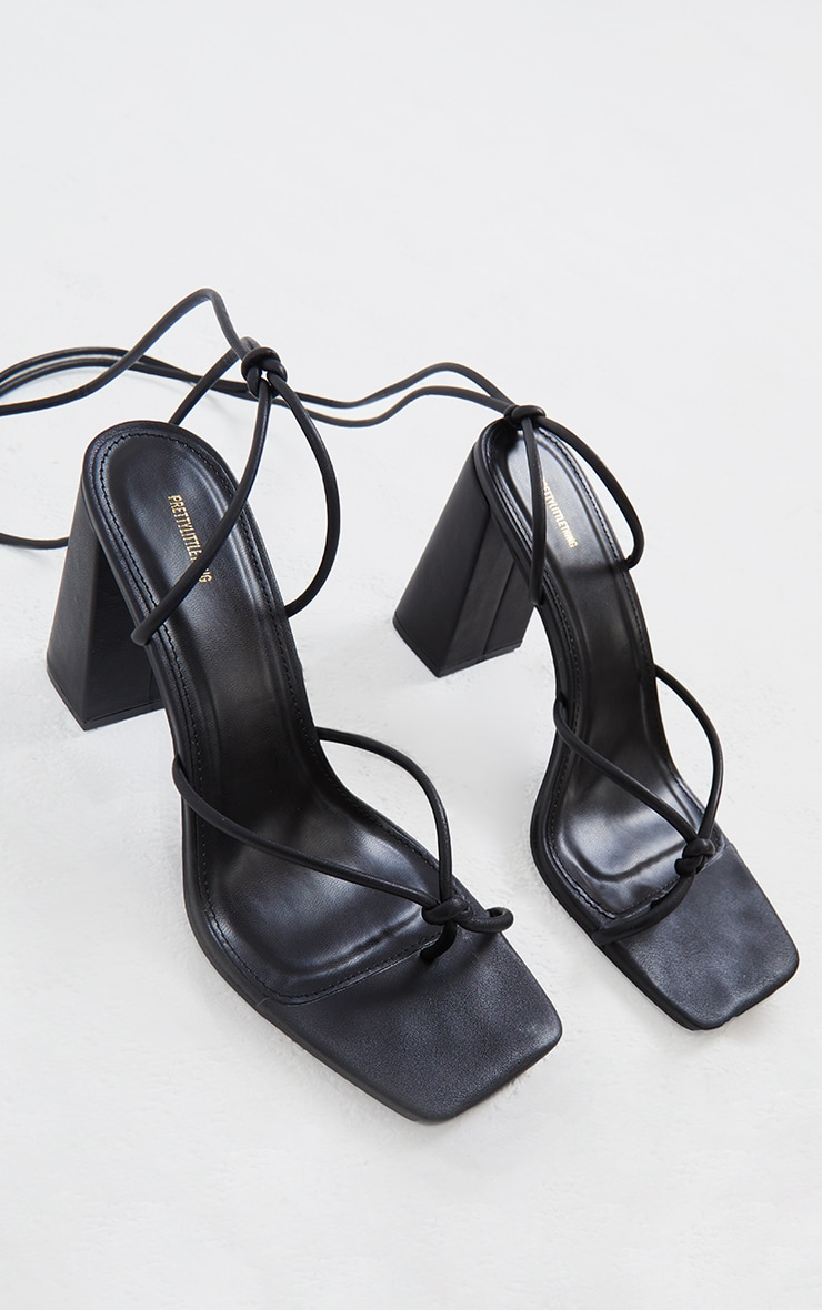 Black PU Square Toe Knot Detail Strappy Heeled Sandals 3