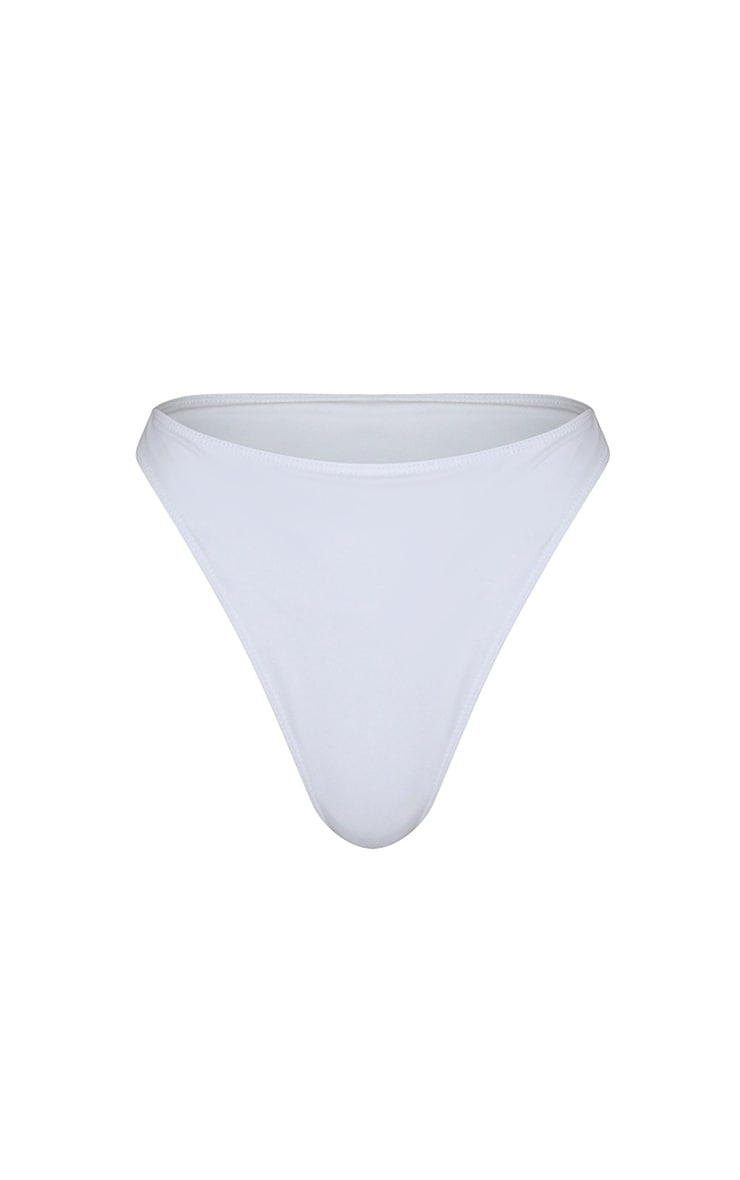 White High Leg Cheeky Bikini Bottoms 6