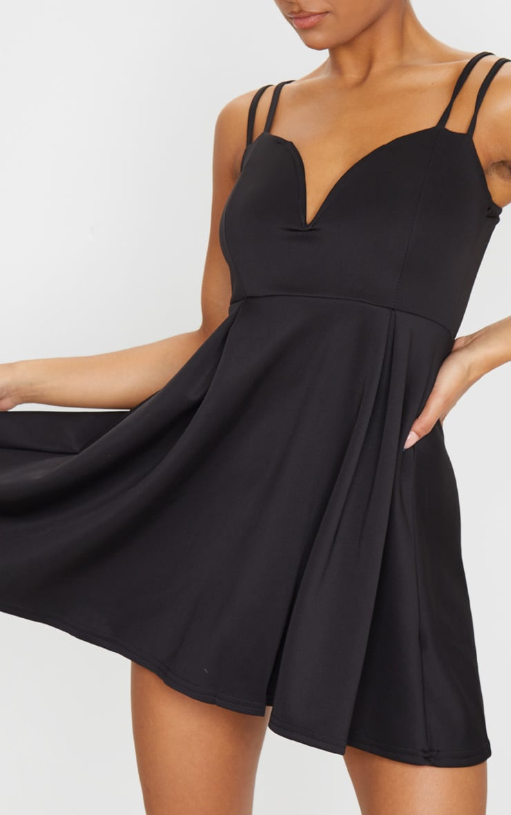 Black V Plunge Double Strap Skater Dress 4