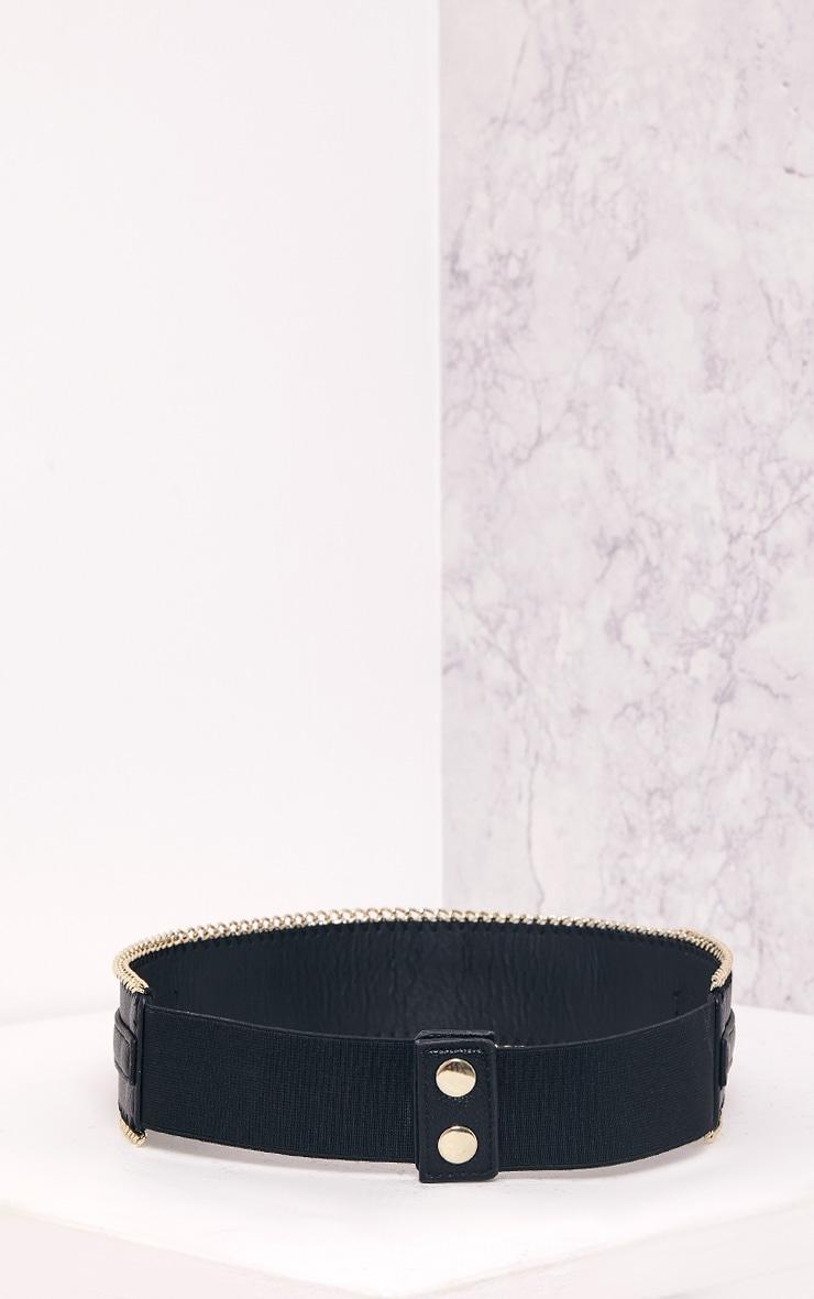 Kiona Black Chain Detail Waist Belt 5
