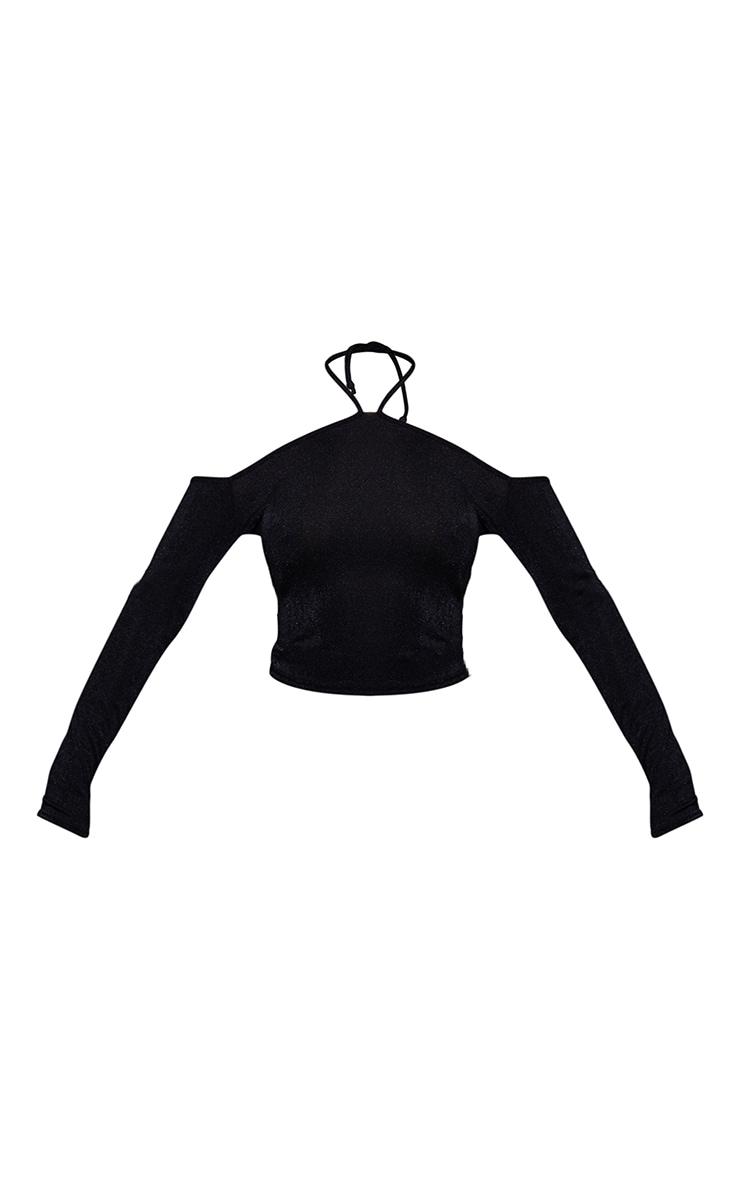 Black Slinky Halterneck Long Sleeve Long Top 5