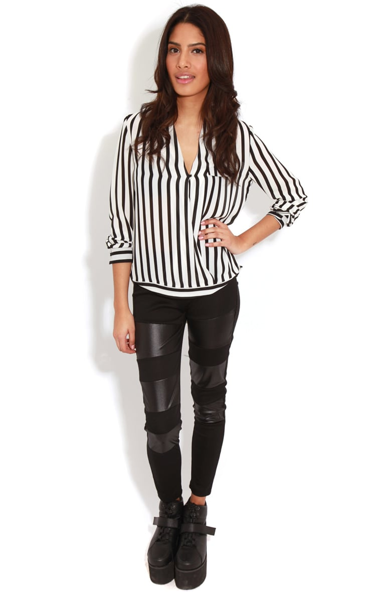 Rosie Monochrome Striped Cross-Over Blouse 3