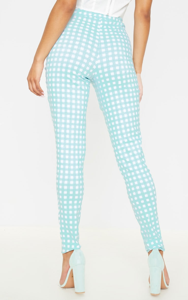 Mint Gingham High Waisted Woven Stretch Legging 4