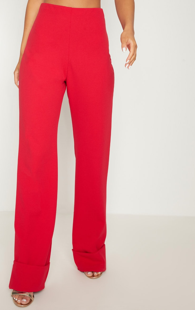 Red Crepe Deep Turn Up Wide Leg Trouser 2