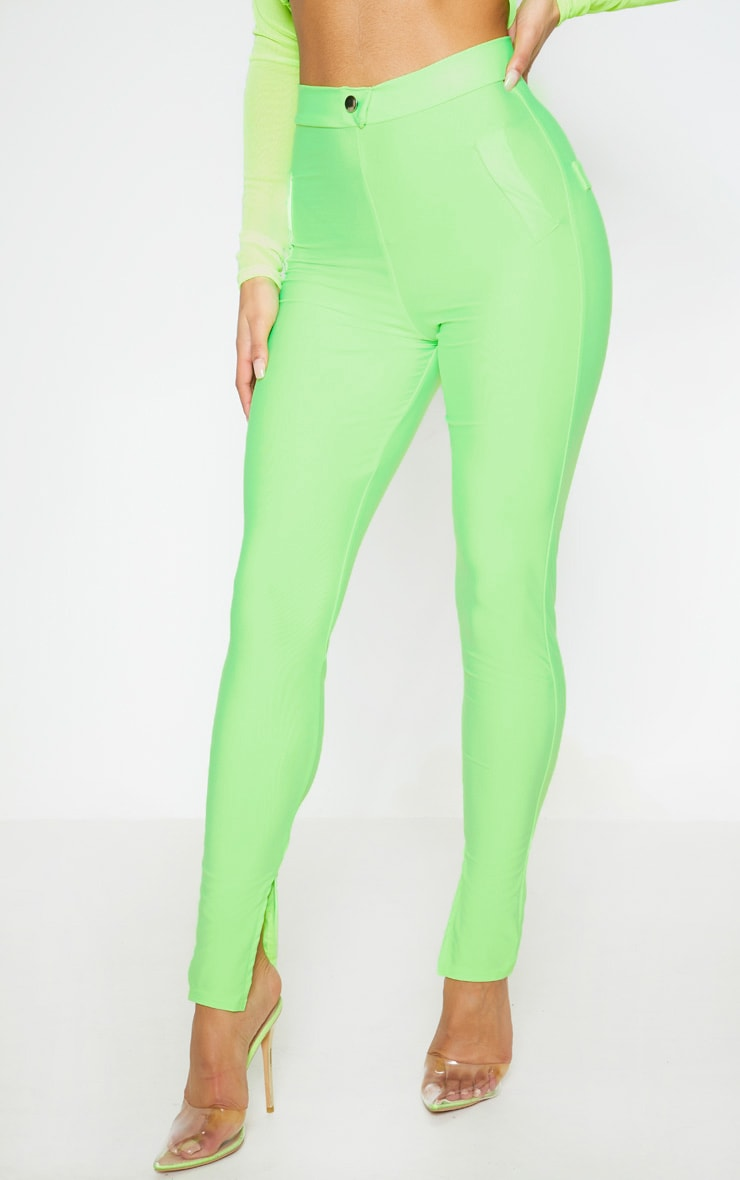 Neon Green Disco Split Hem Skinny Pants 2