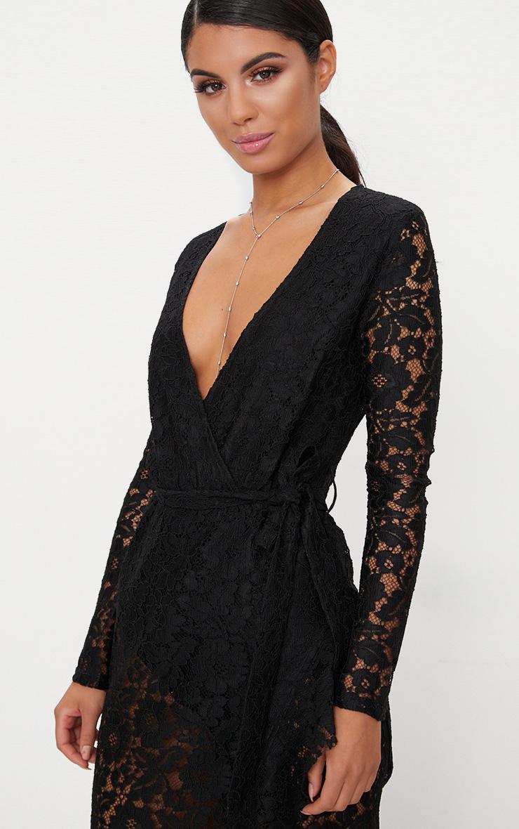 Black Lace Long Sleeve Wrap Front Maxi  5