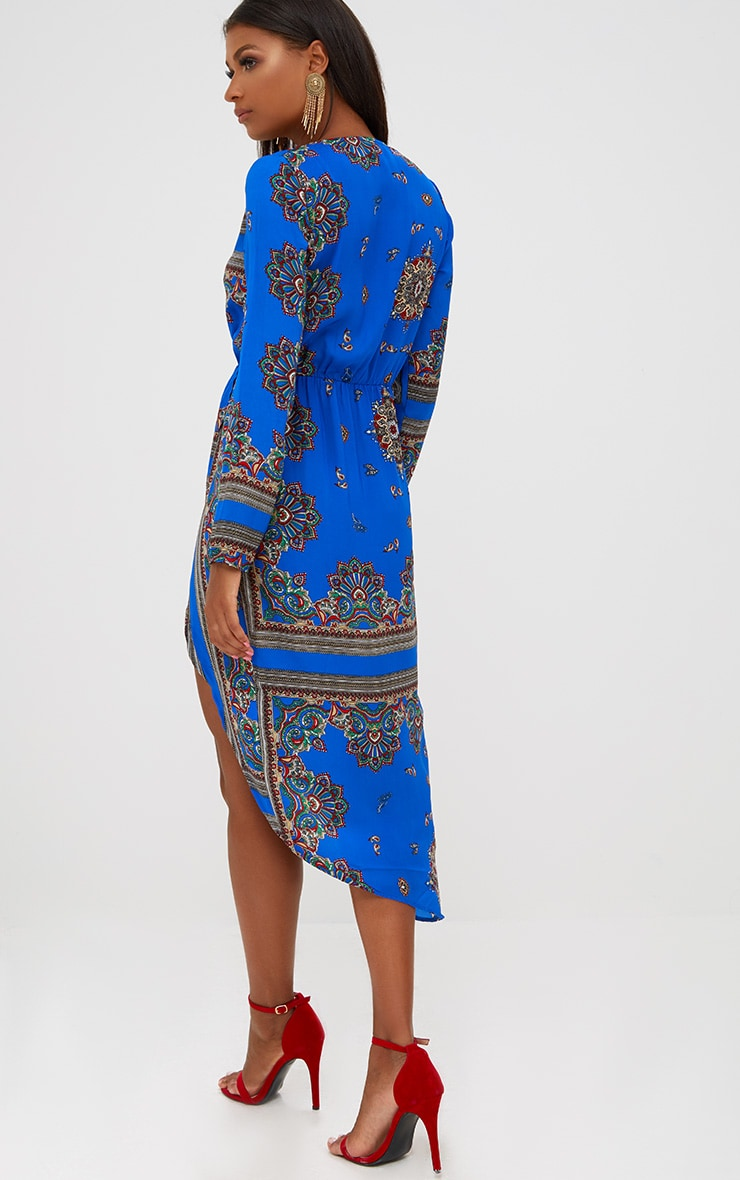 Cobalt Printed Midi Dress 2