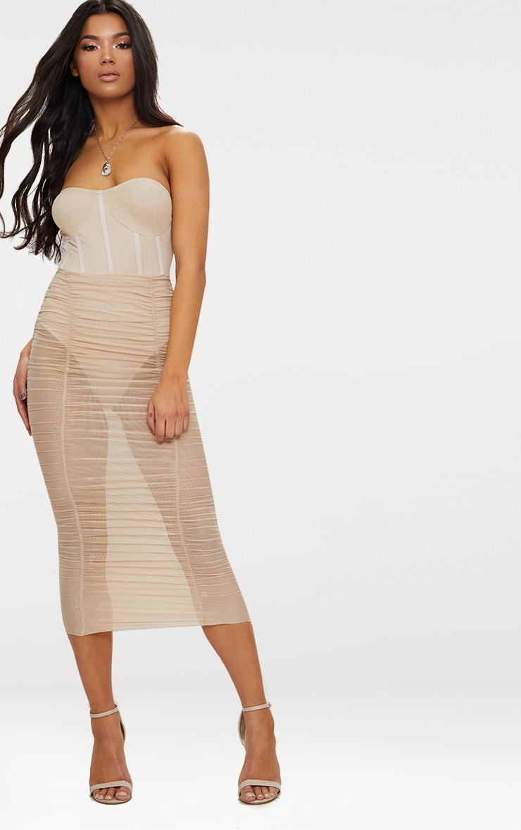 Nude Bandeau Mesh Ruched Bustier Bodycon Dress 1