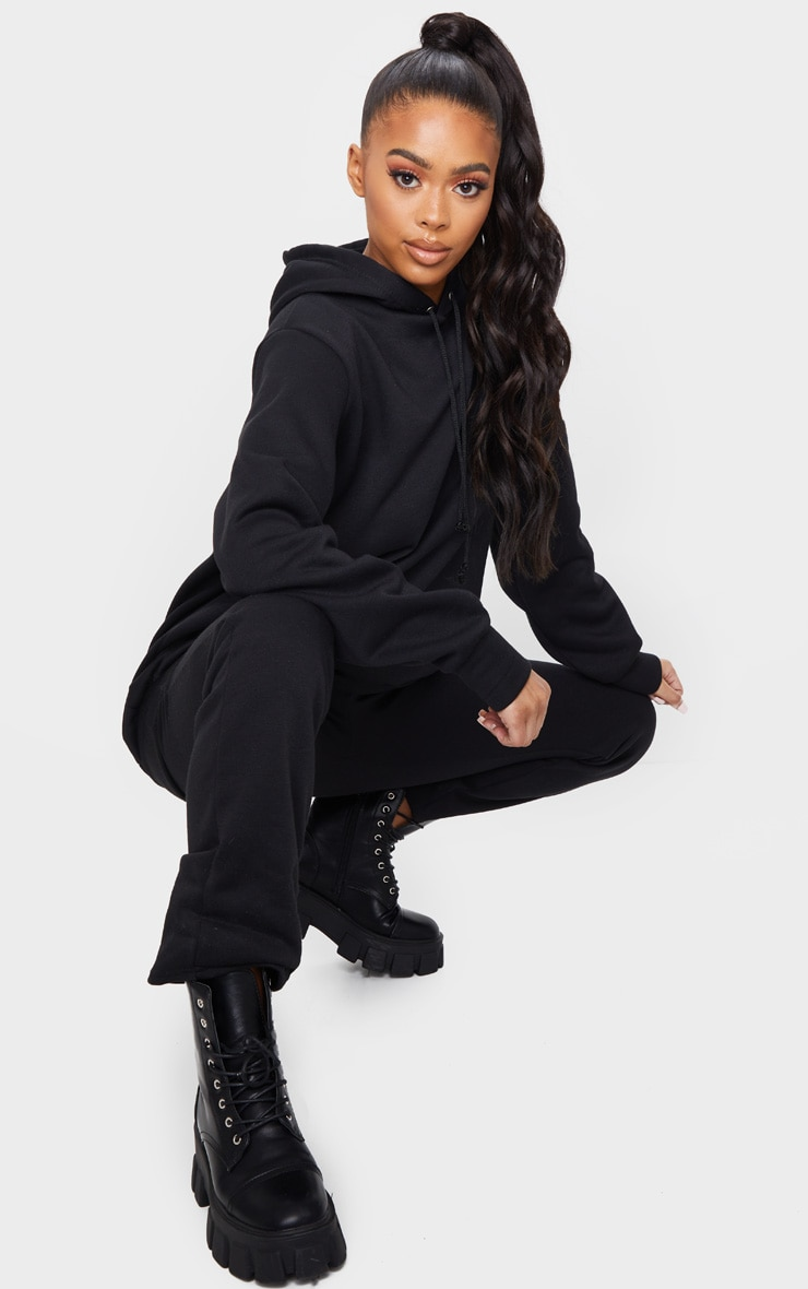 Black Oversized Sweat Hoodie & Straight Leg Jogger Set 3