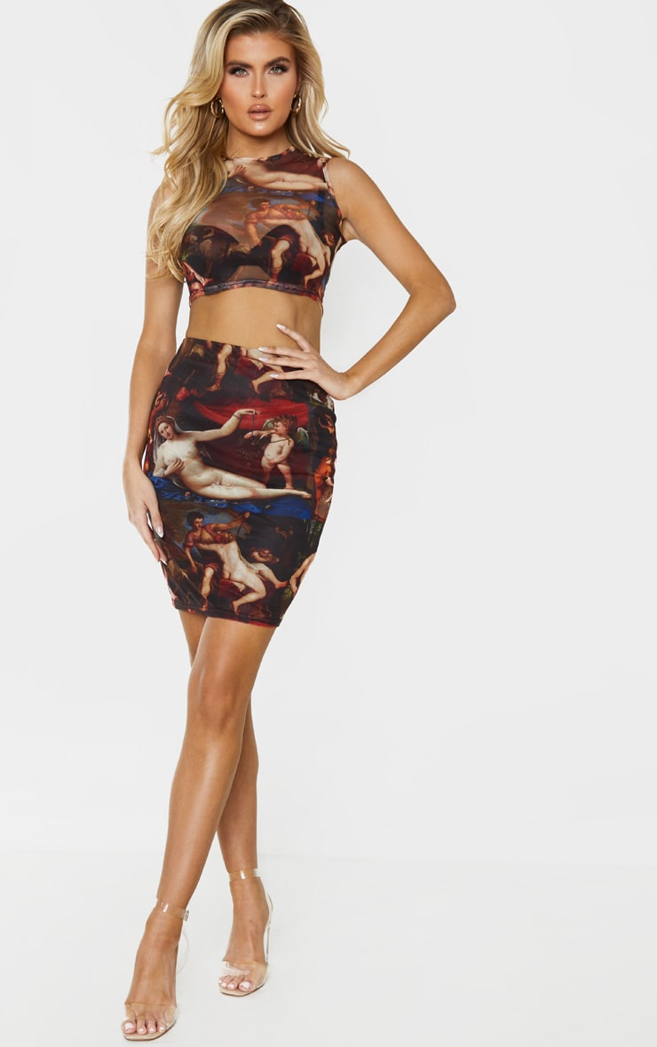 Tall Brown Renaissance Print Mesh Sleeveless Crop Top 5