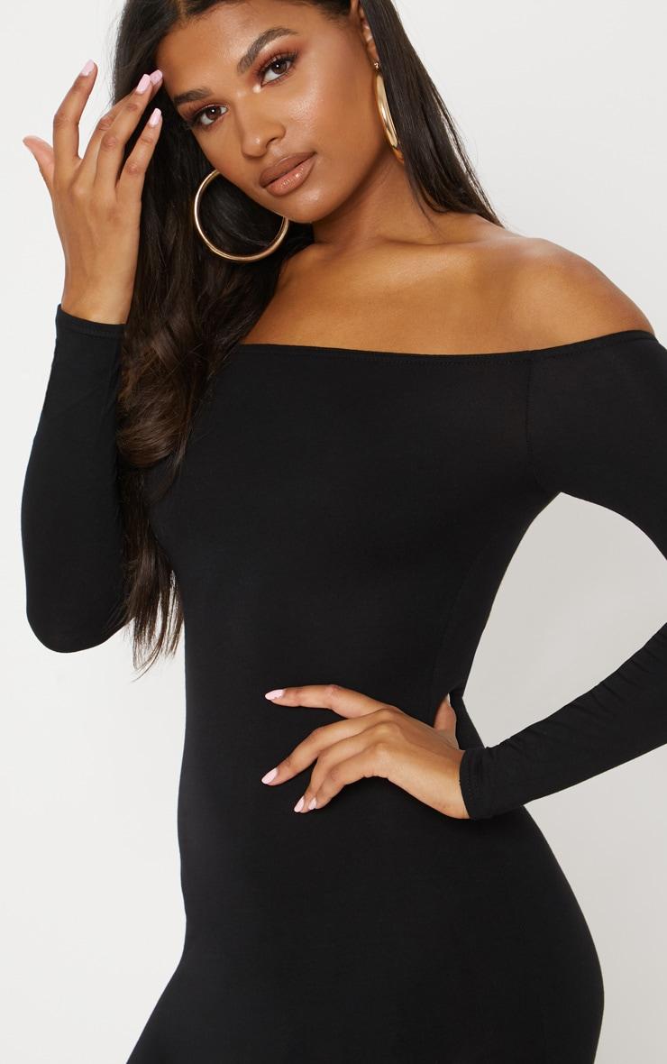 Basic robe moulante bardot noire 5