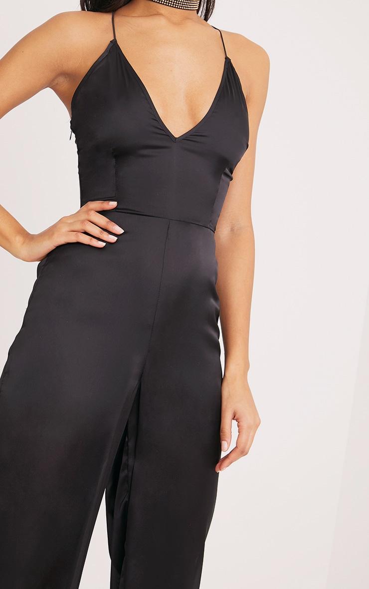 Black Plunge Culotte Jumpsuit 5