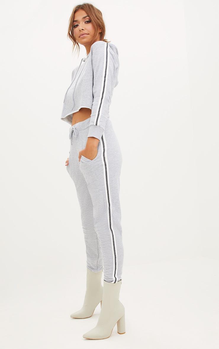 Grey Marl Side Stripe Joggers 2