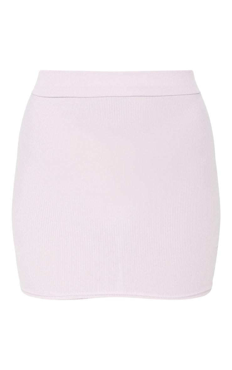 Lilac Rib Bodycon Mini Skirt 3
