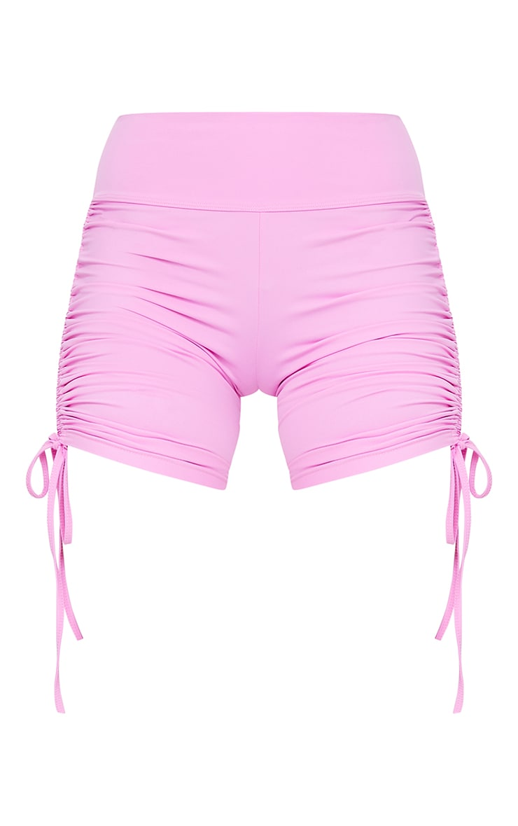 Pink Sculpt Badge Detail Ruched Cycle Short 6