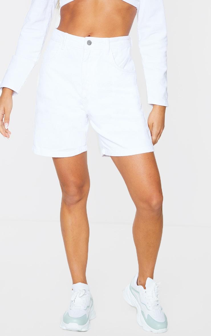 White Cord Boyfriend Shorts 2
