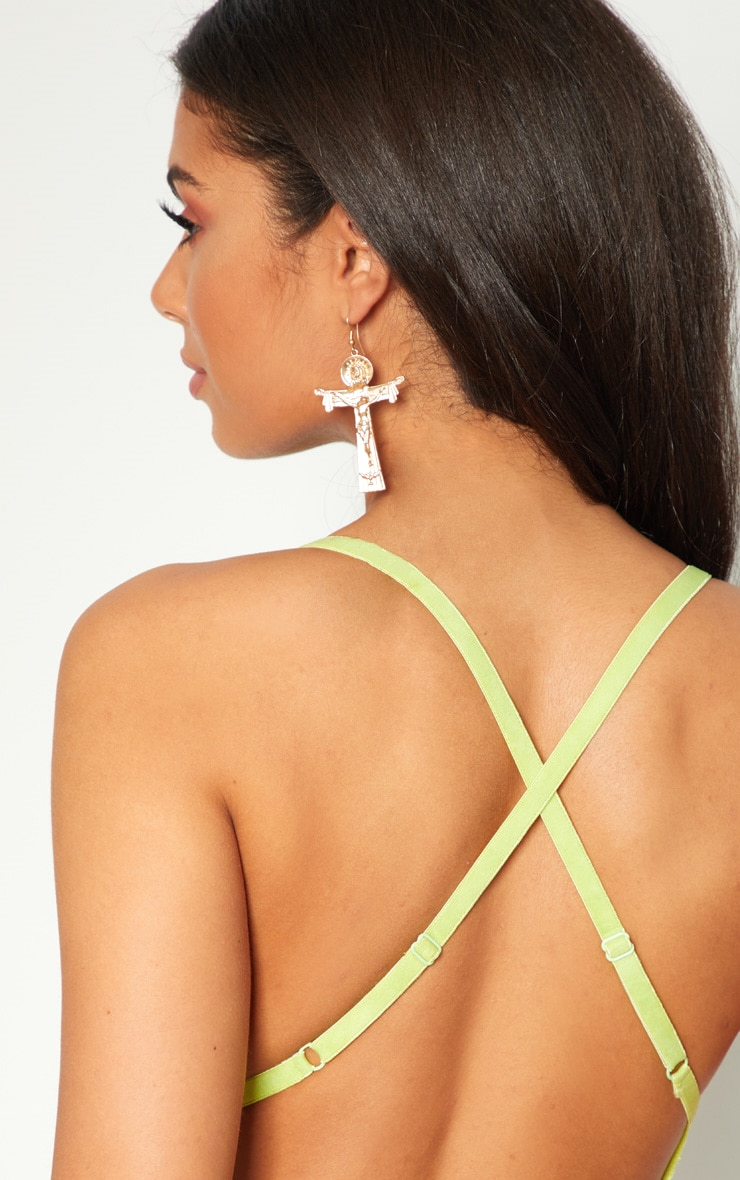 Lime Cut Out Detail Lace Thong Bodysuit 6
