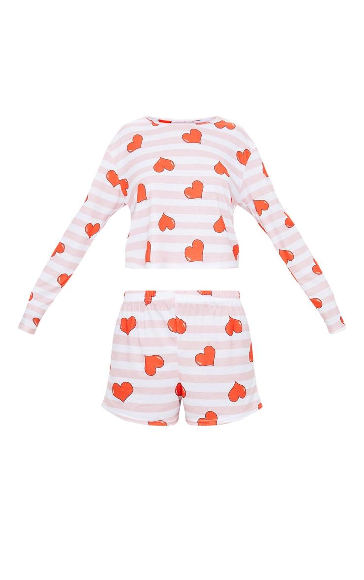 Pink Stripe Heart Print LOVE Slogan PJ Set 3