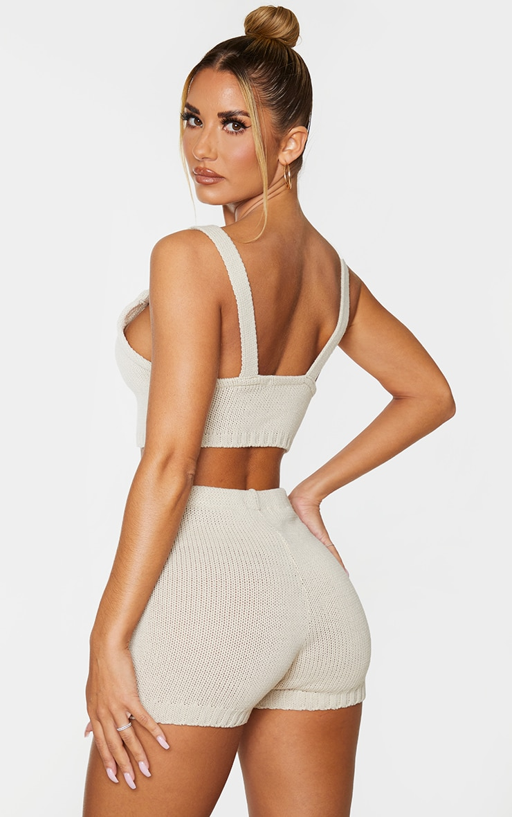 Cream Knitted Strapping Bralet 2