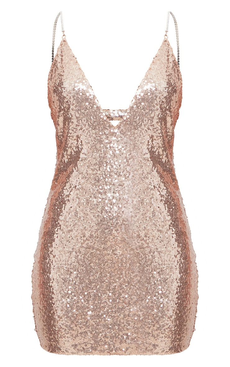Rose Gold Chain Strap Sequin Plunge Bodycon Dress  3