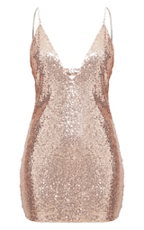 1c26a79cae Rose Gold Chain Strap Sequin Plunge Bodycon Dress image 3