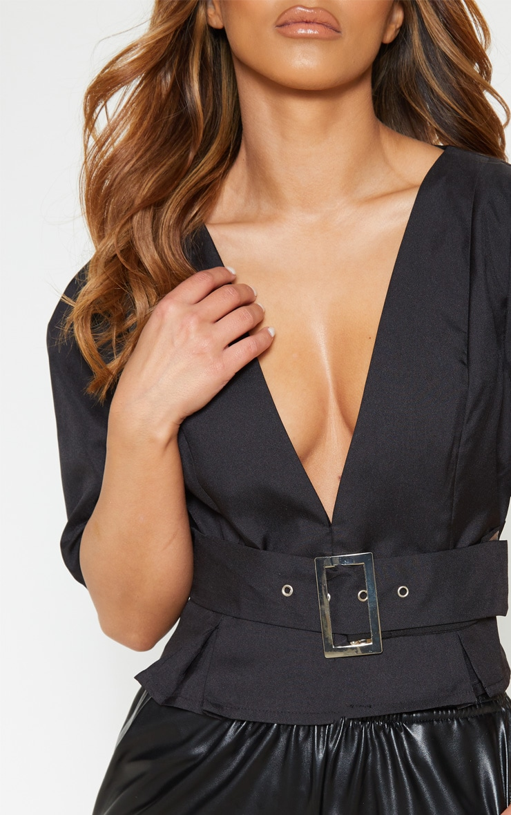 Petite Black V Neck Belt Detail Blouse 5