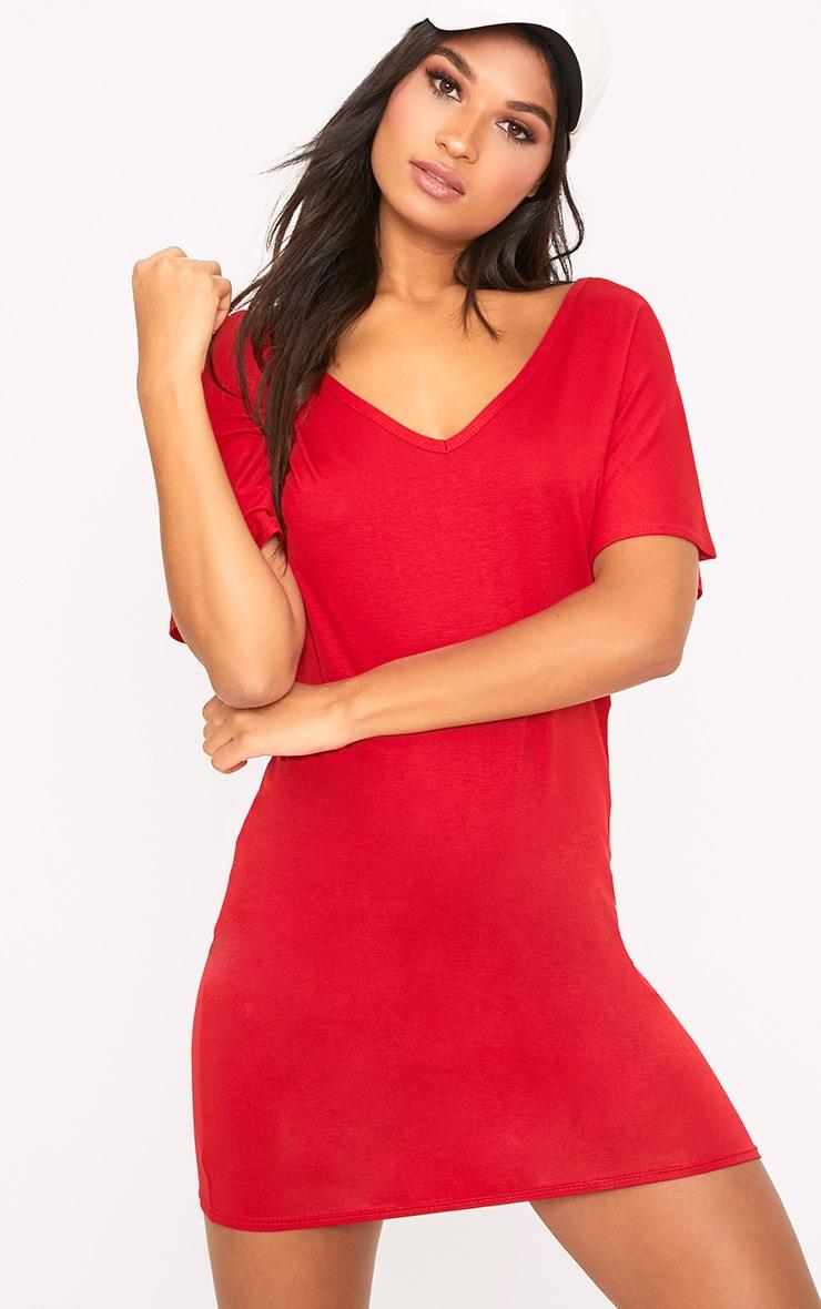 efbeb2305d89 Basic Red V Neck T Shirt Dress image 1