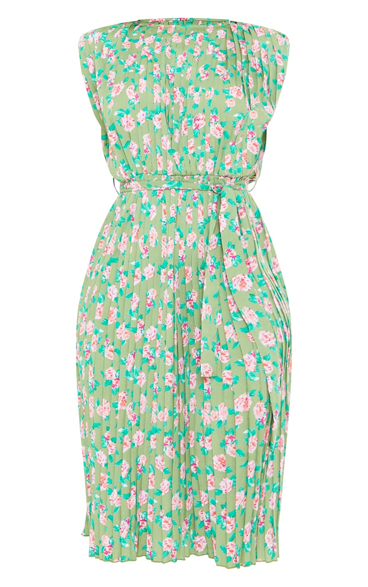Green Floral Print Pleated Sleeveless Midi Dress 5