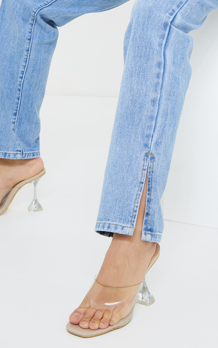 Petite Light Blue Distressed Waistband Split Hem Jeans 4