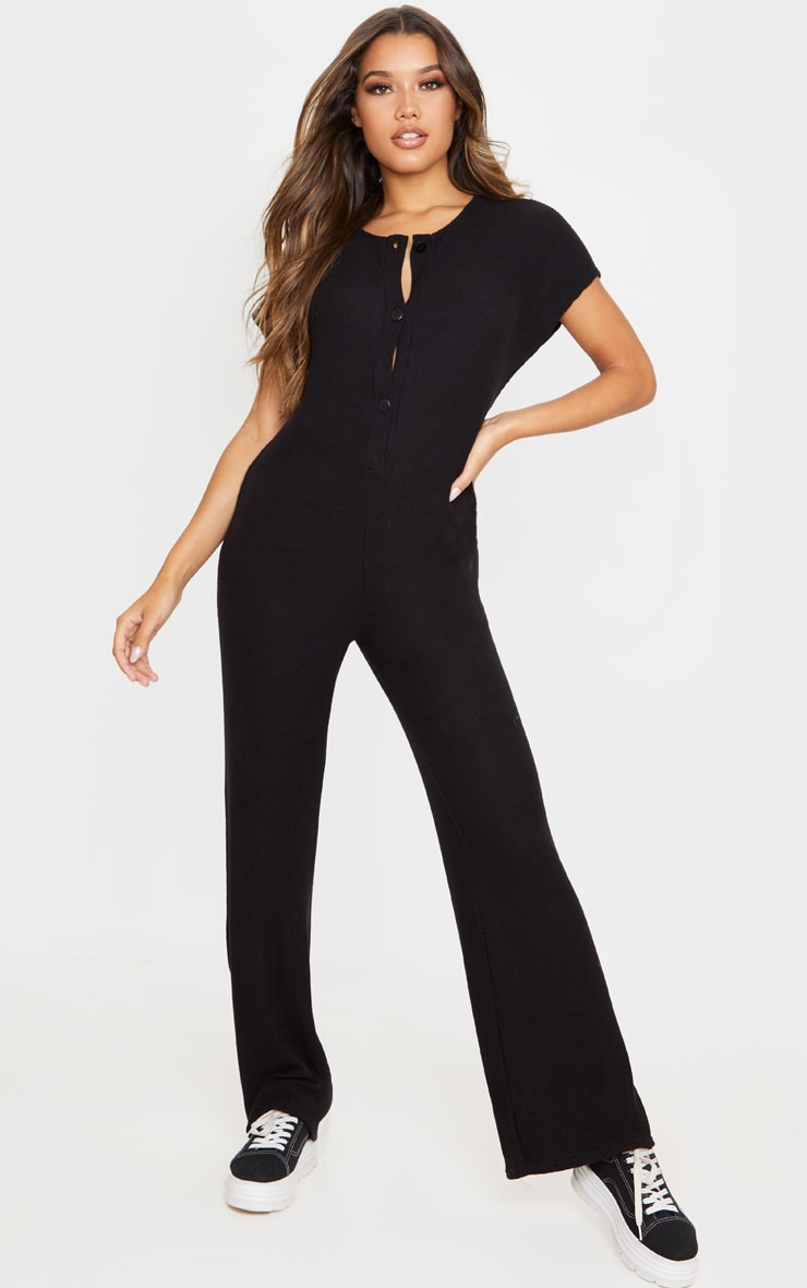 Black Brushed Rib Button Short Sleeve Jumpsuit 1