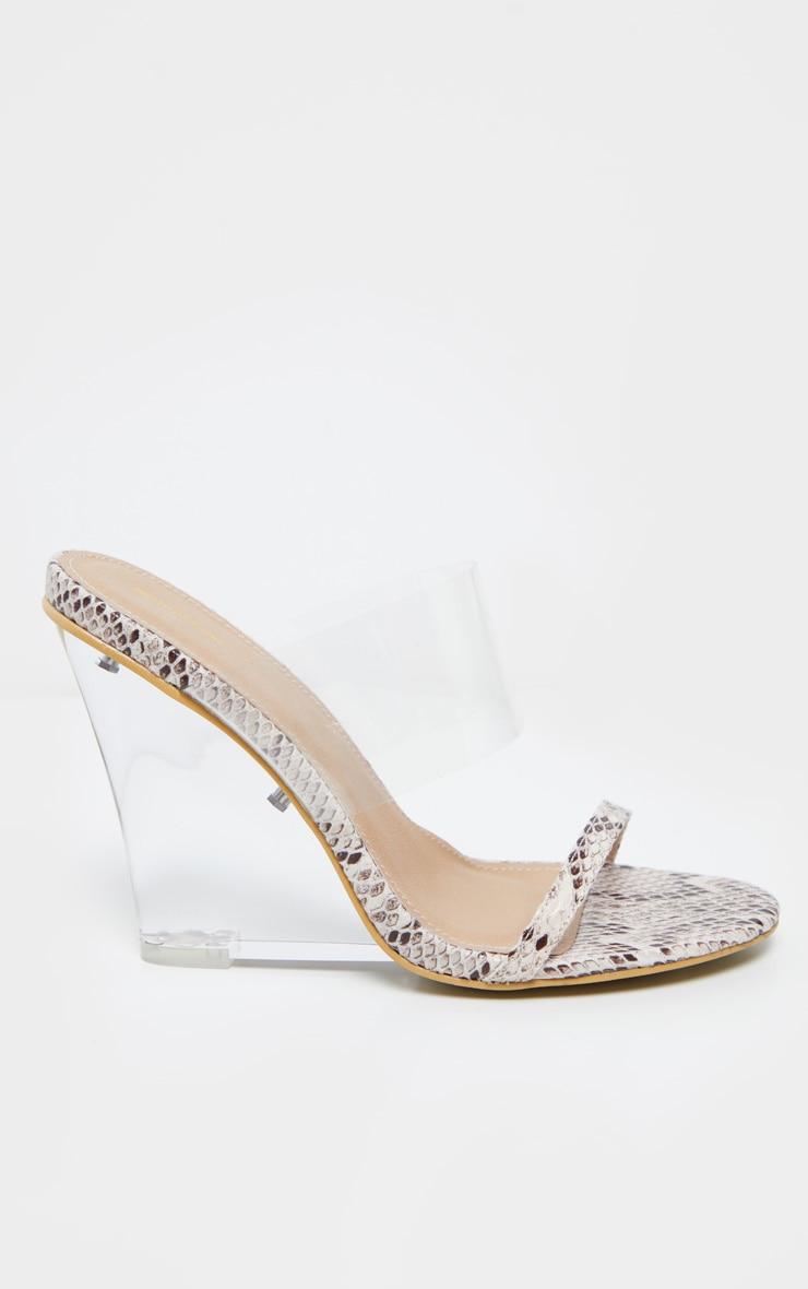 Snake Clear Wedge Mule Sandal 4