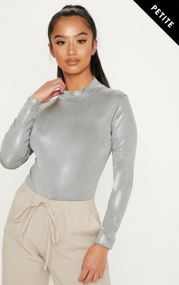 Petite Silver High Neck Shimmer Bodysuit  1