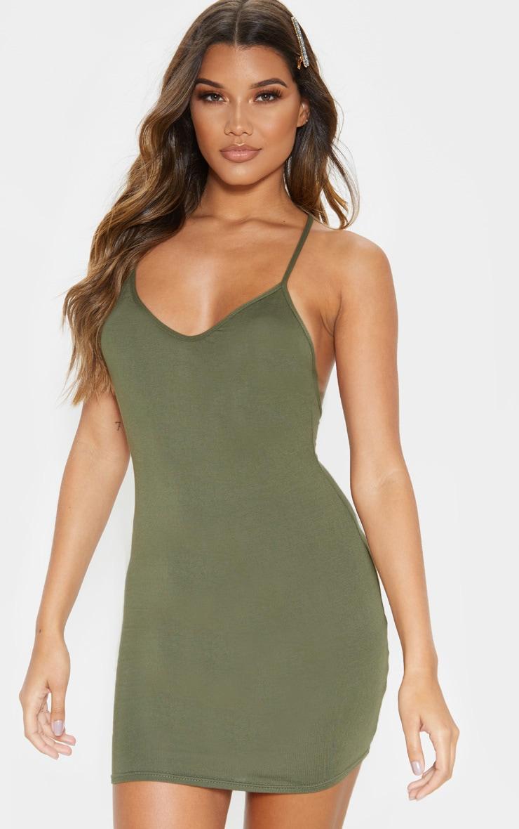 Khaki Plaited Back Bodycon Dress 2
