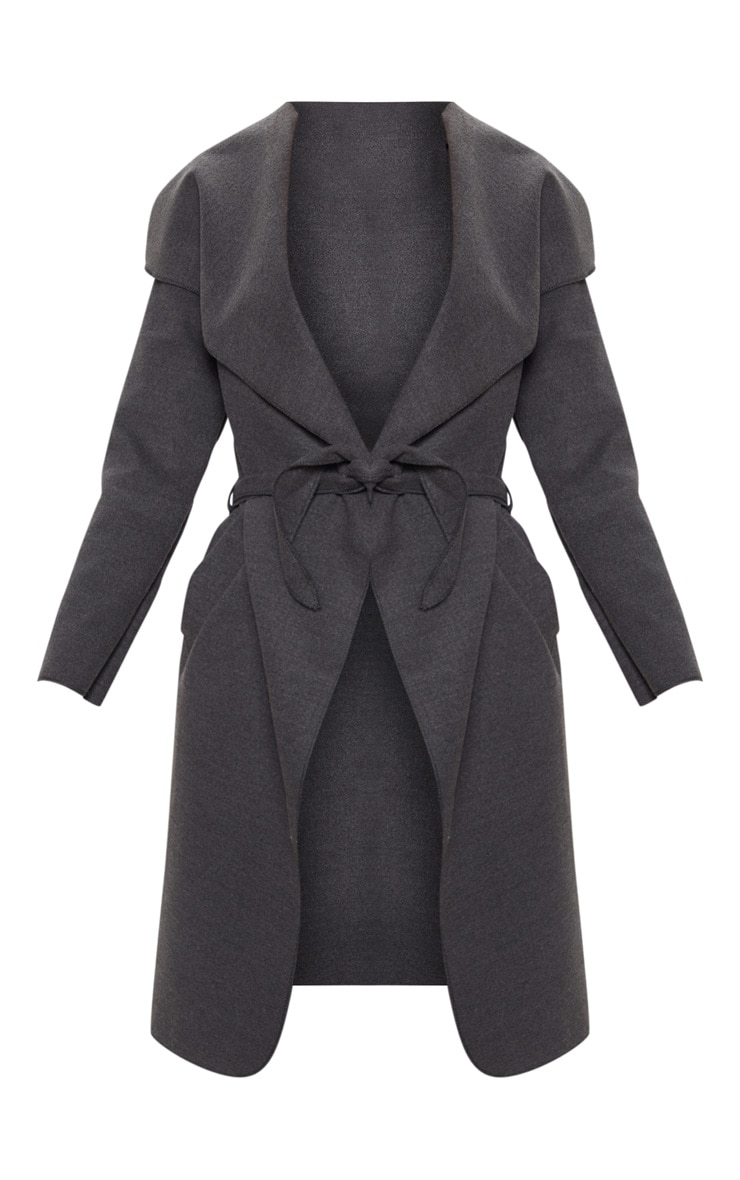 Veronica Charcoal Oversized Waterfall Belted Coat 3