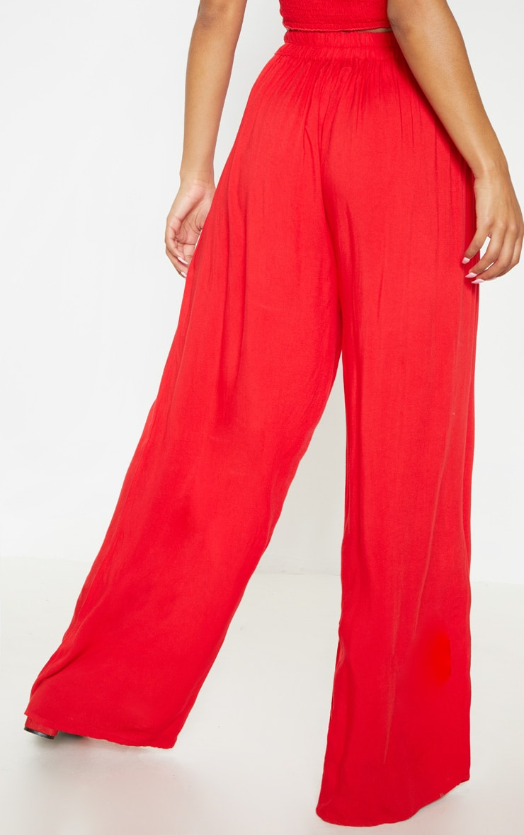 Red Wide Leg Woven Pants 4