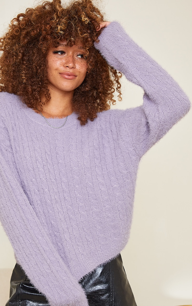 Lilac All Over Cable Crop Fluffy Sweater 1