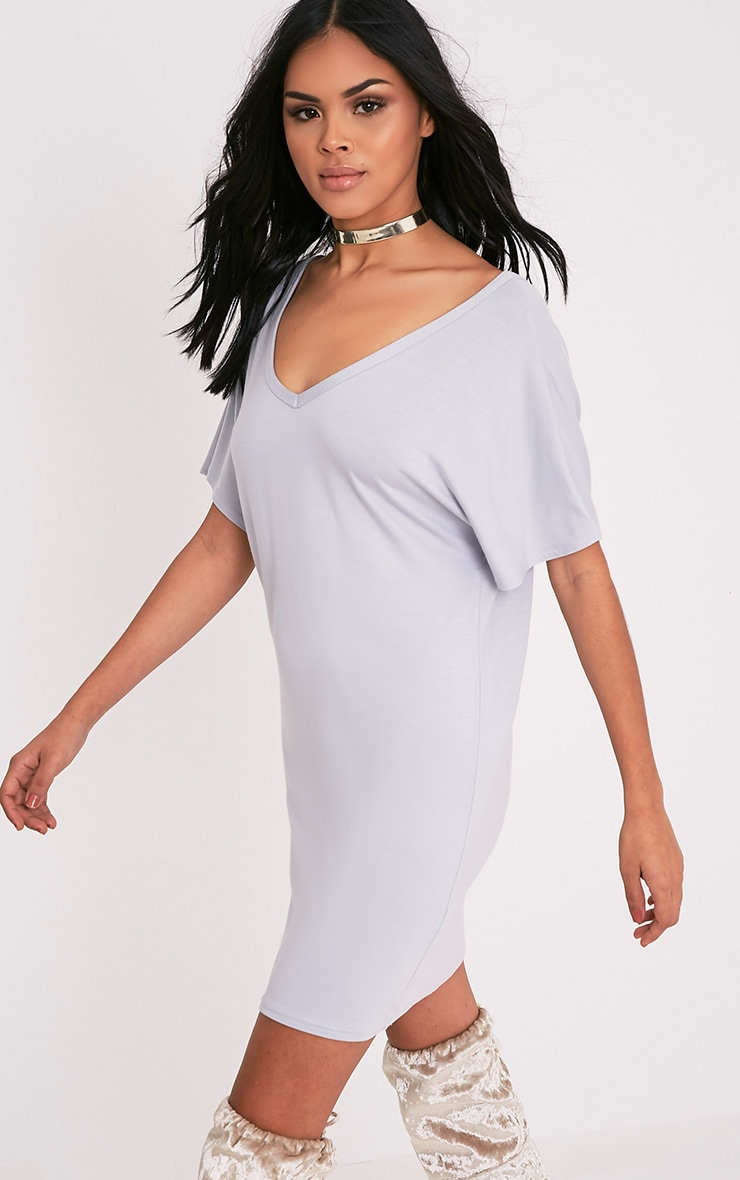 Basic robe t-shirt à col en V gris glace 4