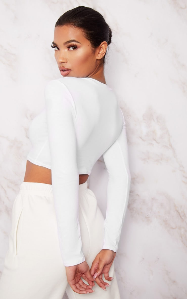 White AW19 Embroidered Cotton High Neck Crop Top 2