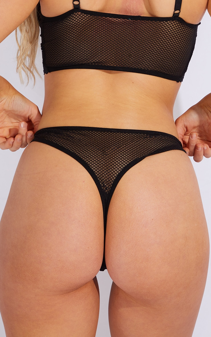 Black Mesh Lace Trim Thong 4
