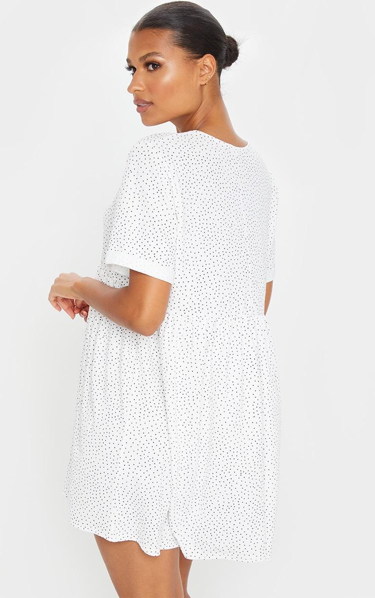 White Polka Dot Roll Sleeve Smock Dress 2