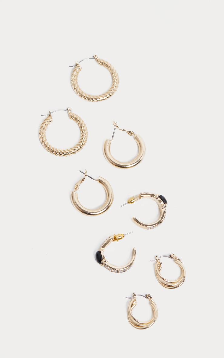Gold Multi Style Hoop Pack  4