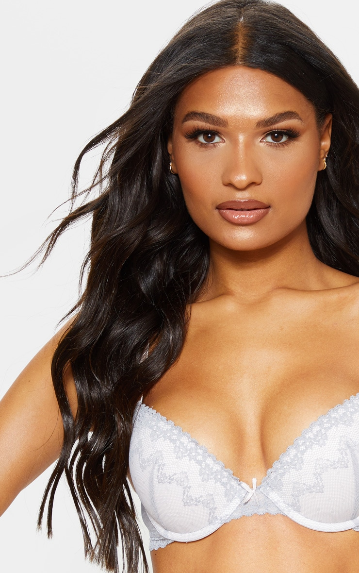 Grey Lace Detail Underwired Bra 5