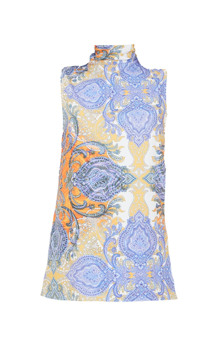 Multi Paisley Printed High Neck Sleeveless Top 5
