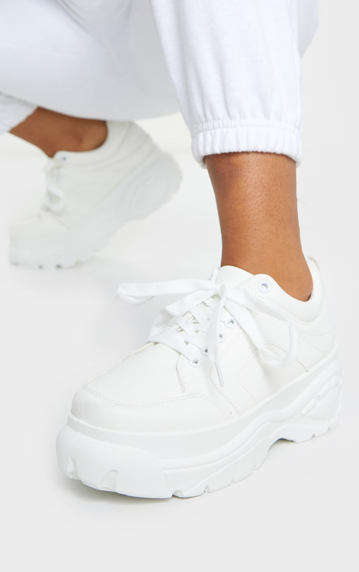 White Chunky Lace Up Trainers 1
